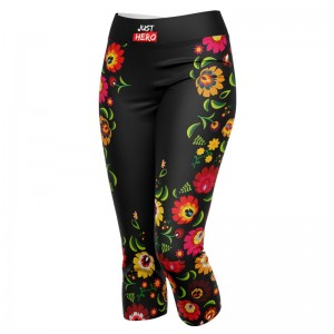 LEGGINSY 3/4 BLACK FOLK
