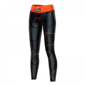 WOMEN LEGGINGS HEXAGON ORANGE