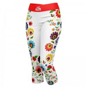 LEGGINSY 3/4 WHITE FOLK